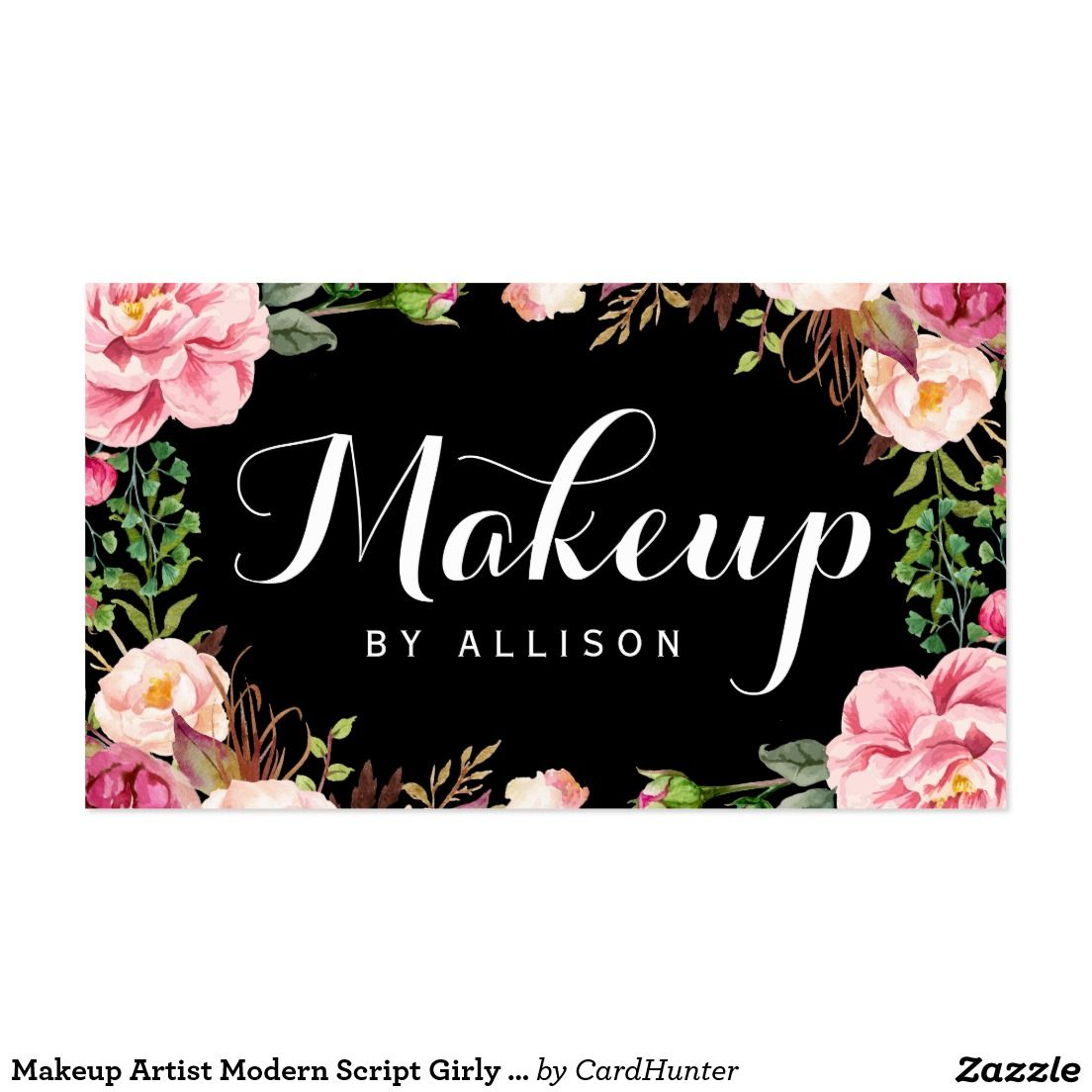 Makeup Artist Modern Script Girly Floral Wrapping Business Card ...