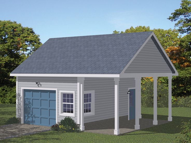 078g 0008 1 Car Garage Plan With Covered Porch Backyard Garage Garage Plans Detached Garage Storage Plans