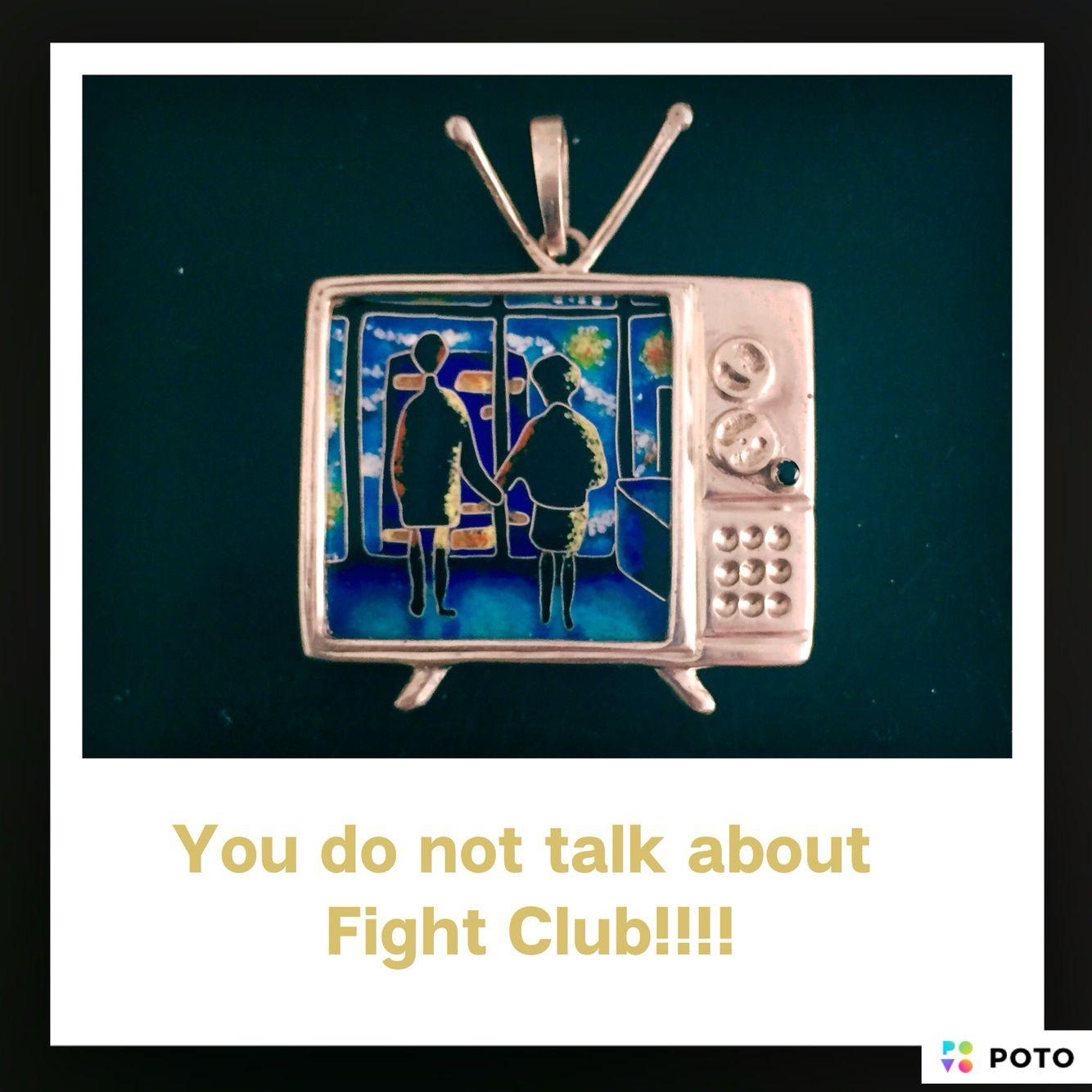 Cloisonné enamel/silver Fight Club Pendant. Nat Nebieridze For Art Laboratory