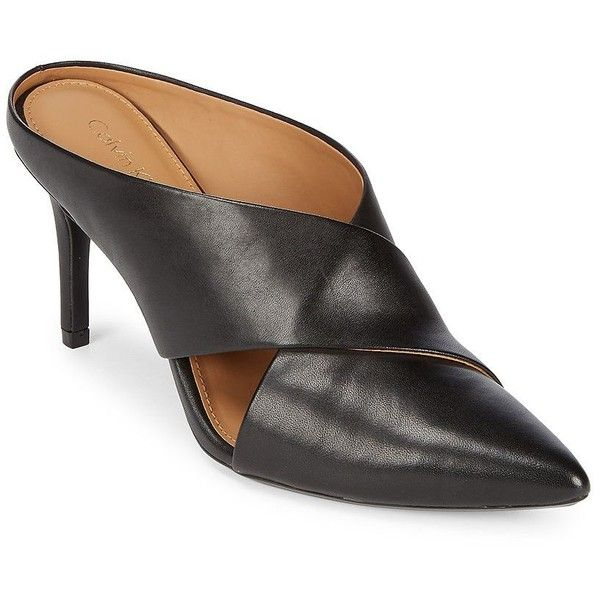 0bcf022bc5c Calvin Klein Women s Gilliana Leather Stiletto Mules ( 129) ❤ liked on  Polyvore featuring shoes