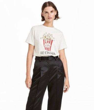 shirt mit druck wei popcorn damen h m de. Black Bedroom Furniture Sets. Home Design Ideas
