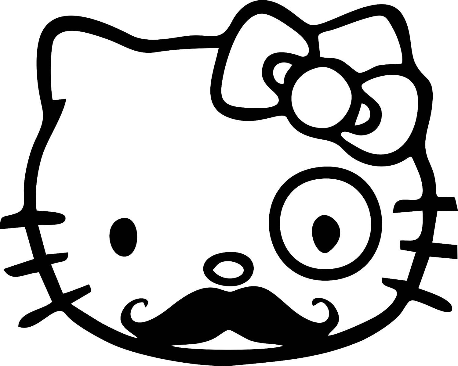 cute hello kitty monocle and mustache vinyl decal sticker for