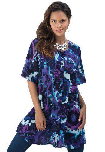 32b02a00bf4 Roamans Women's Plus Size Angelina Tunic (Indigo Hyper Floral,M) Roamans ,http