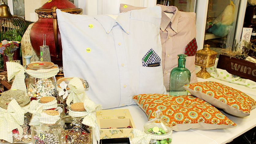 Some fun throw pillows made of men's dress shirts and vintage fabrics.