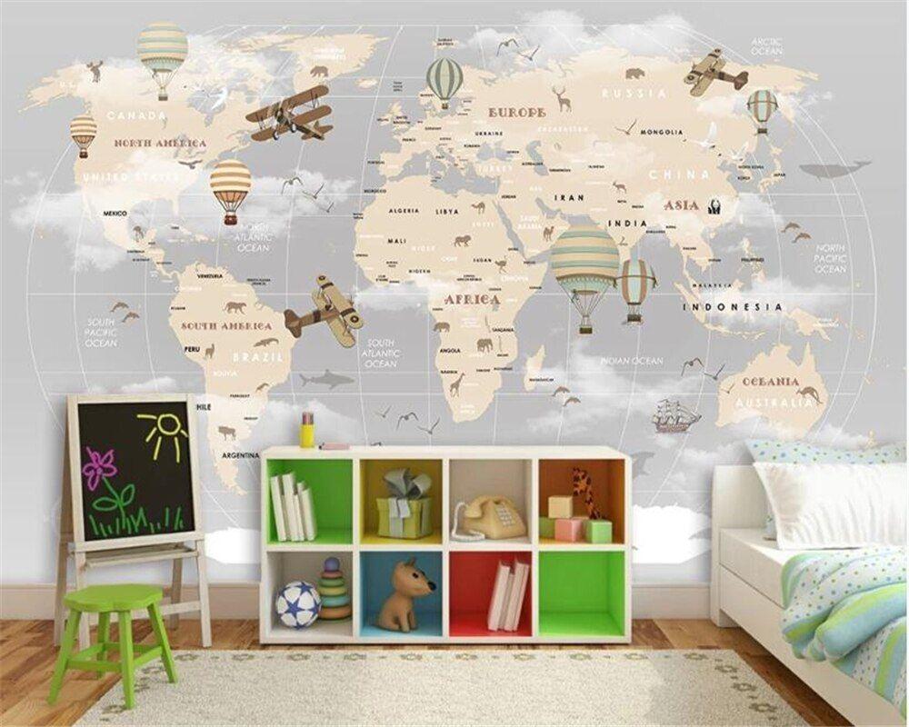 Beibehang Custom Wallpaper Cartoon World Map Tv Background Wall Living Room Bedroom Children Room Background 3d Wallpaper Murals In 2021 Map Wall Mural Kids Wallpaper Map Wallpaper 3d wallpaper designs for kids room