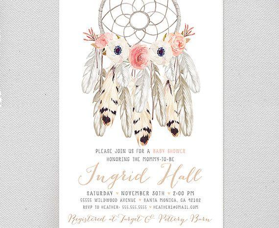 Boho Baby Shower Invitation Girl Printable Tribal Aztec Floral Arrow Bohemian 2