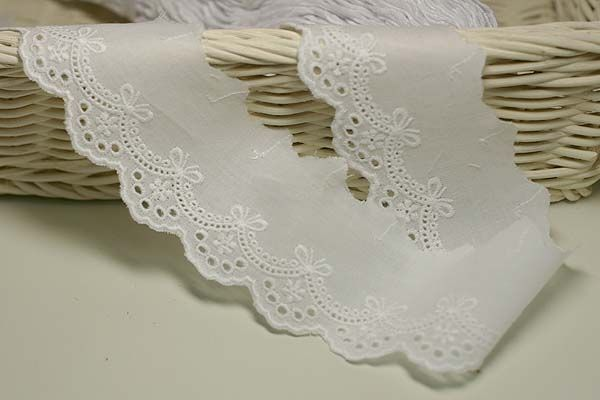 White 14Yds Broderie Anglaise cotton eyelet lace trim 15cm YH1039
