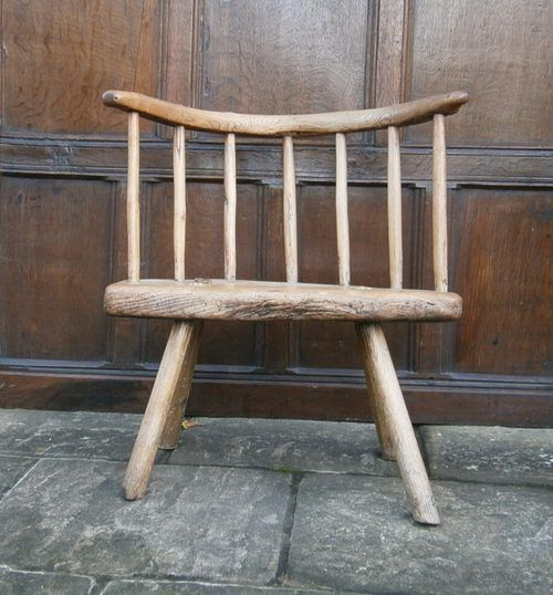 A Truly Wonderful 18th Century Ash And Elm Low Back Chair Of Primitive  Construction. The
