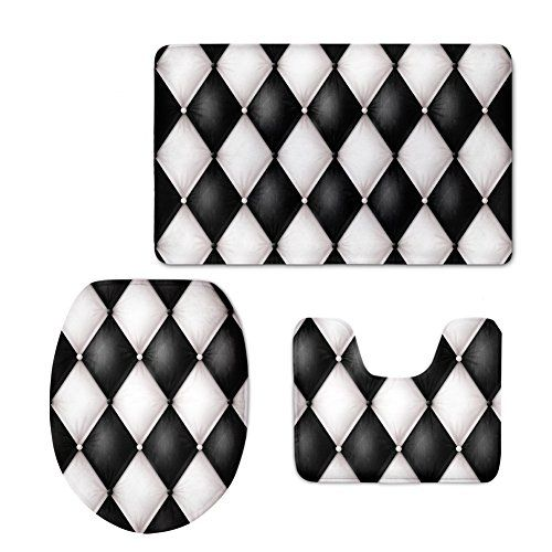 Bigcardesigns Abstract Printed Bathroom Anti Slip Mats Set Black