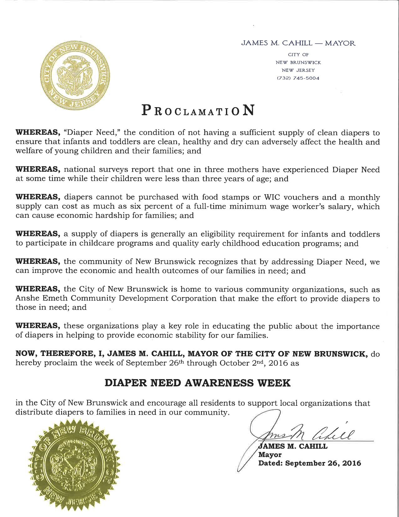 New Brunswick, NJ - Mayoral proclamation recognizing Diaper Need Awareness Week (Sept. 26 - Oct. 2, 2016) #DiaperNeed www.diaperneed.org