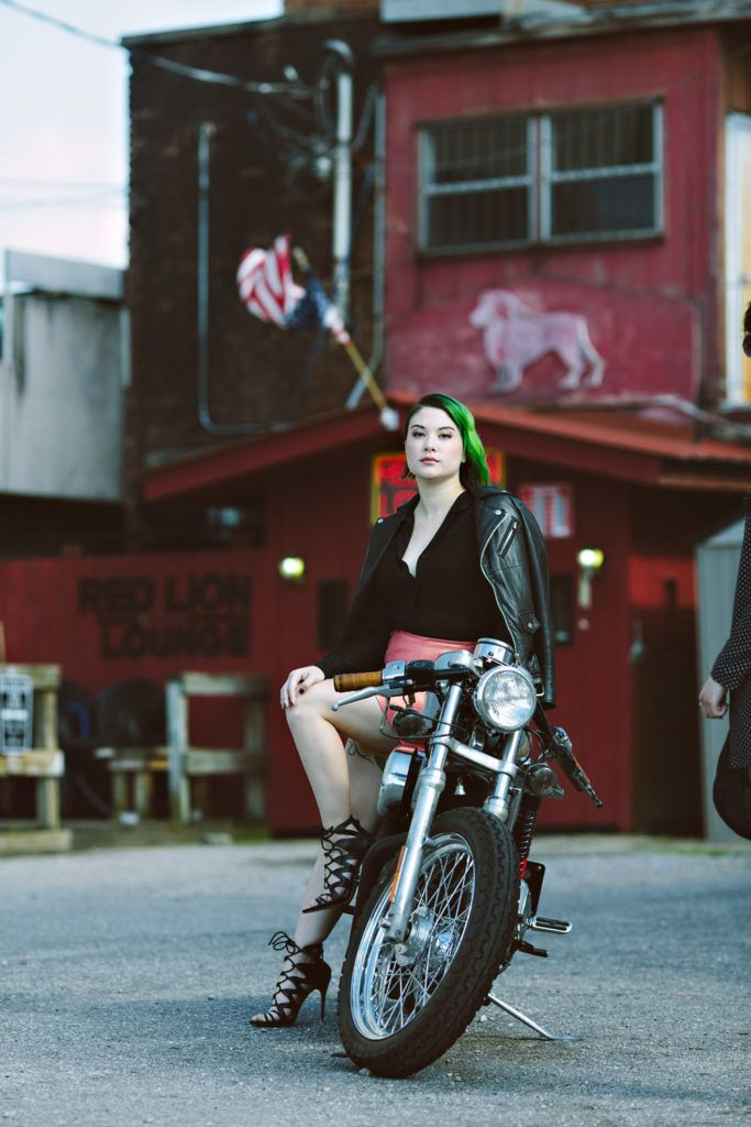 Rocker chic, green hair and leather.   Photography: Graham Yelton