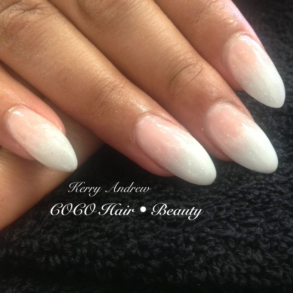 Sculptured Acrylic Almond Nails White Acrylic gradient / fade ...