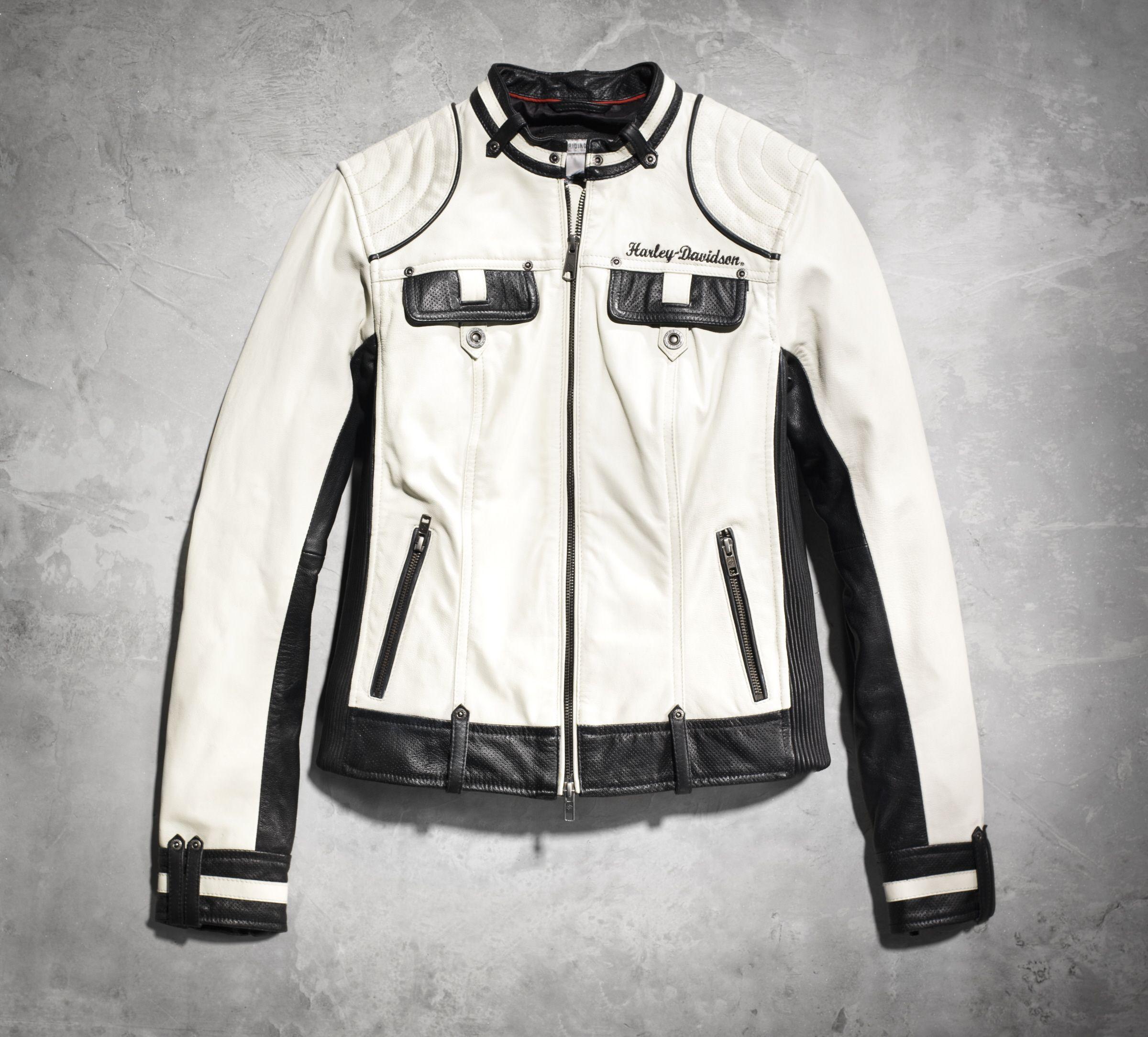 Amelia Colorblocked Leather Jacket Harley Davidson Clothing Harley Jacket Fashion [ 2167 x 2400 Pixel ]