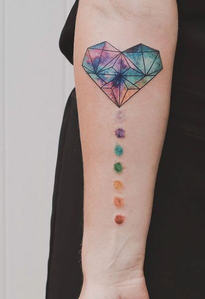 Rainbow Heart Tattoo Geometric Heart Tattoo