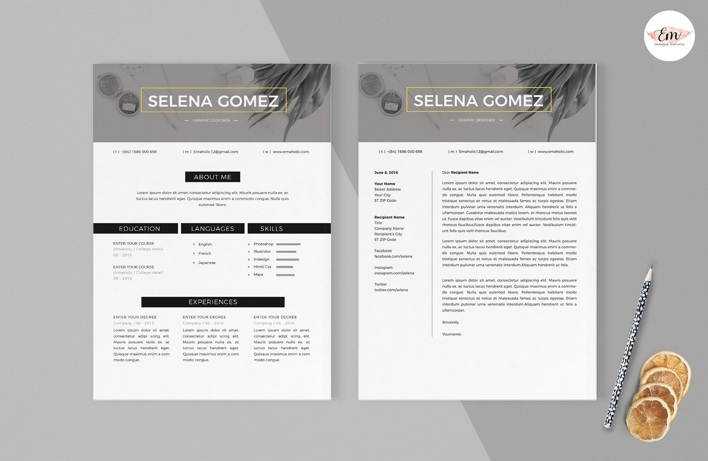 Modern 1 Page Resume Template