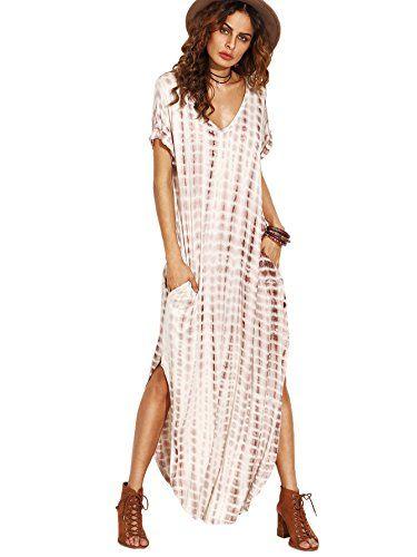 MakeMeChic Casual Maxi Short Sleeve Split Tie Dye Long Dress Coffee M --  You can 8b25ccac16aa