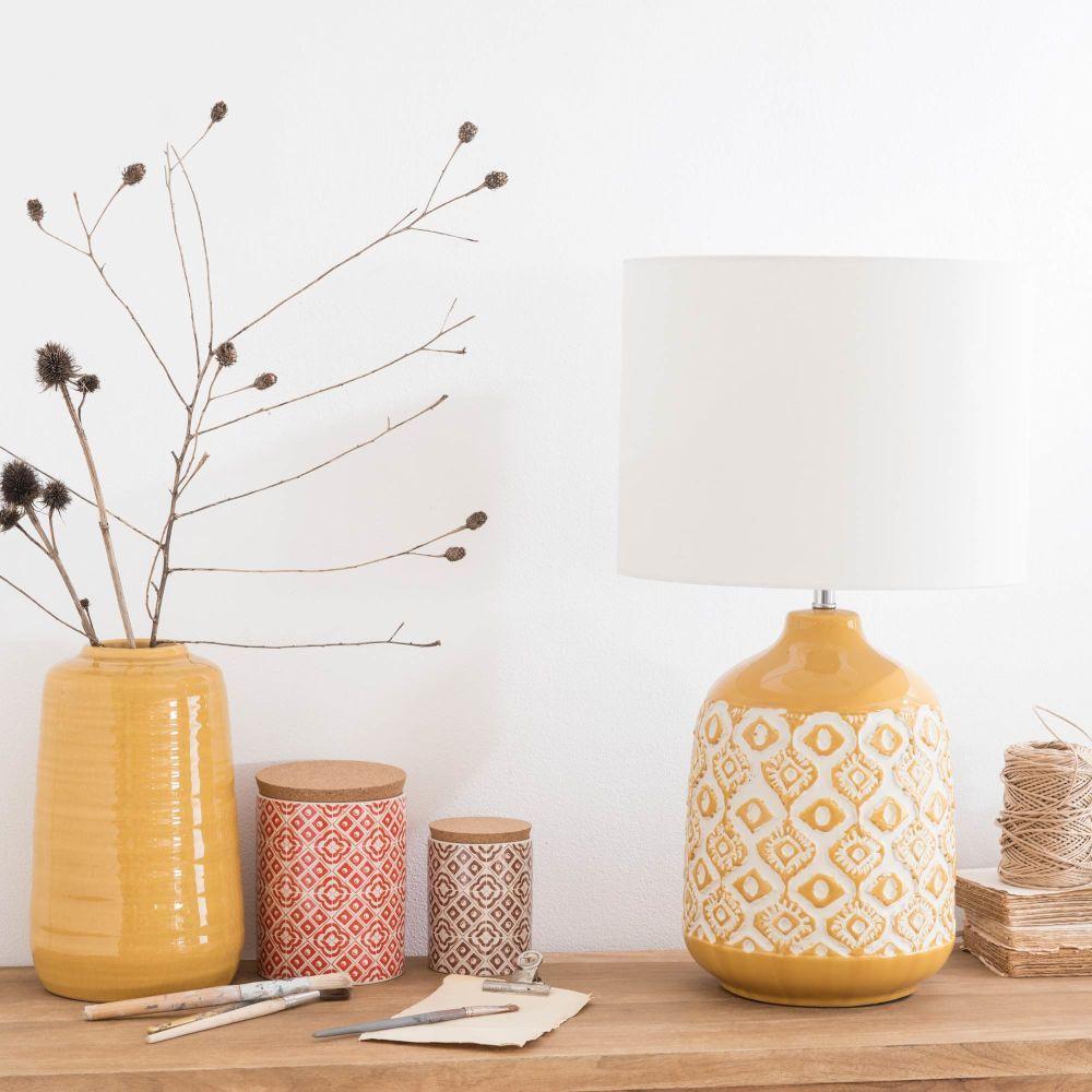 Lámpara De Cerámica Amarillo Mostaza Con Pantalla Color Crudo Maisons Du Monde Parede De Inspiração Móveis Decoração Decoração