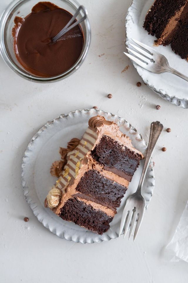 Chocolate Brownie Cake With Chocolate Hazelnut Filling And