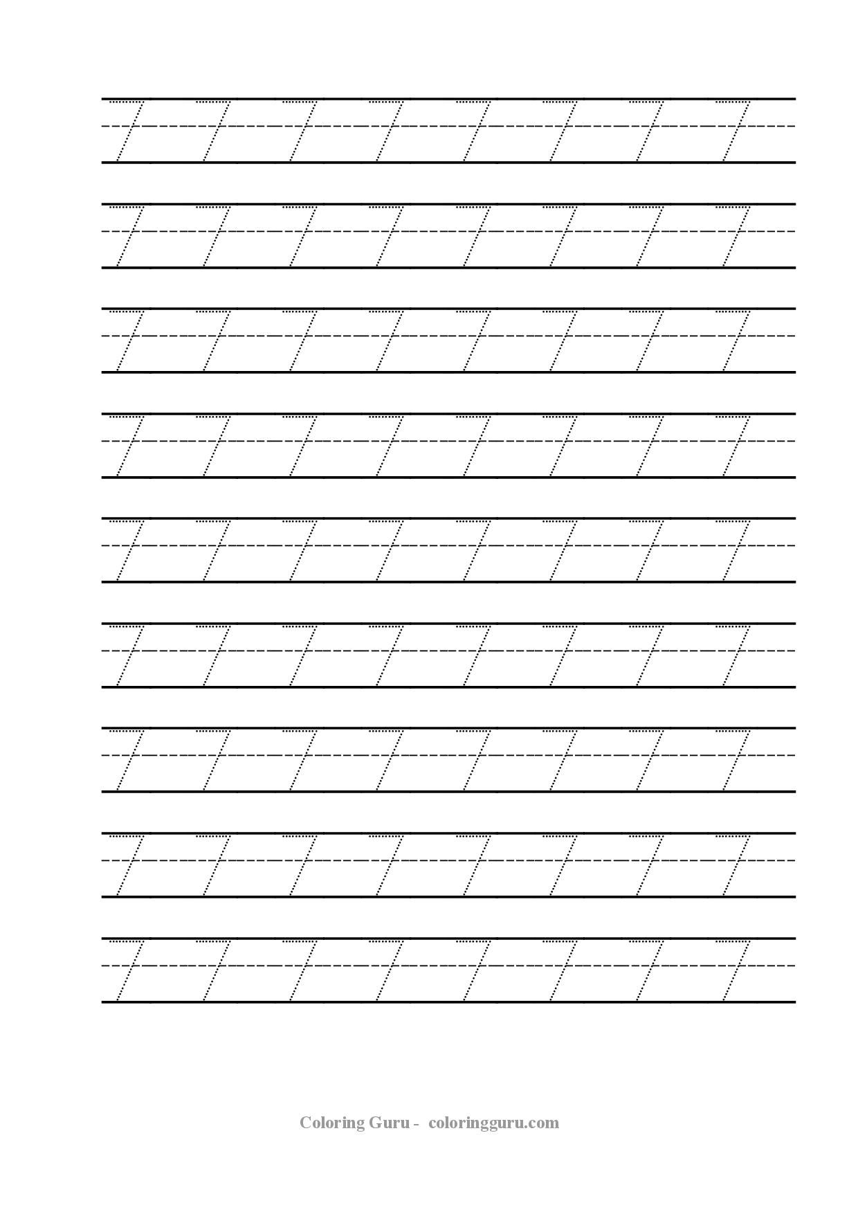 Free Printable Tracing Number 7 Worksheets – Number 7 Worksheet