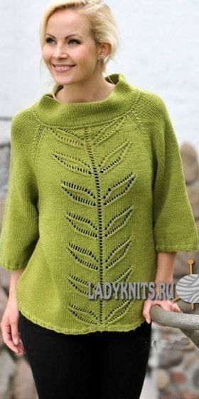 e5e77729dcc3 Очень красивый зеленый свитер спицами с ажурными листьями спереди ...