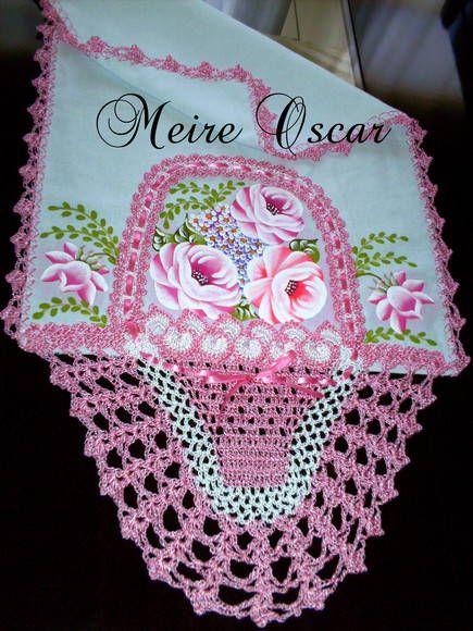 Pano De Prato Com Cesta De Croche E Pintura De Rosas Faco Na Cor
