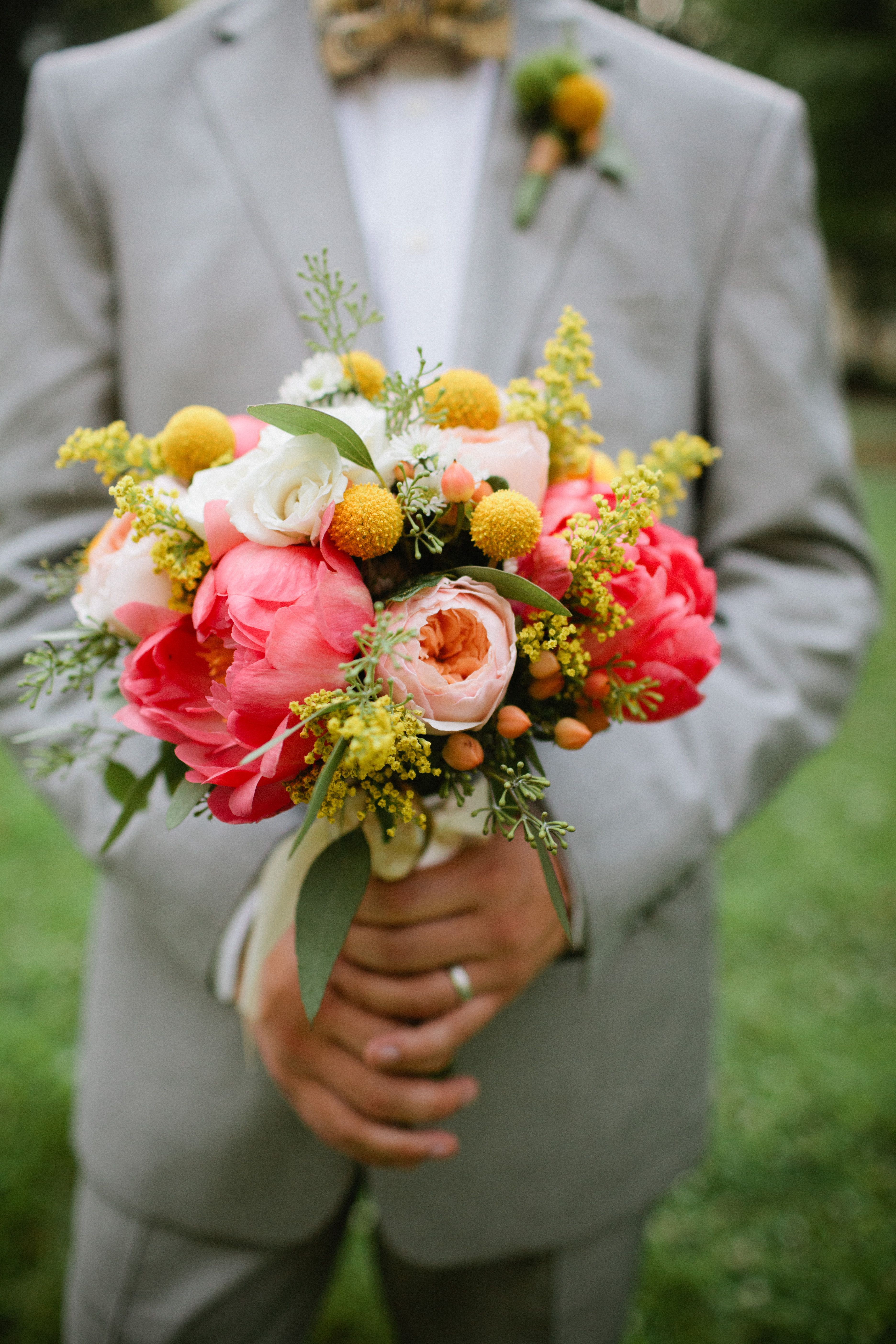 Peach Garden Rose Bouquet coral peonies, peach garden roses, yellow billy buttons and