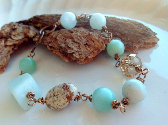 Mint Green And Brown Bracelet Bridesmaid Rustic Weding