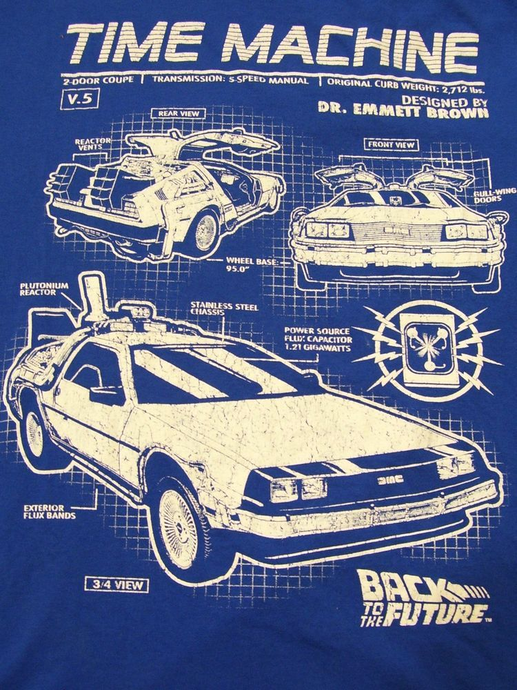 Time machine blueprint back to the future t shirt large 100 cotton time machine blueprint back to the future t shirt large 100 cotton blue welovefine malvernweather Choice Image
