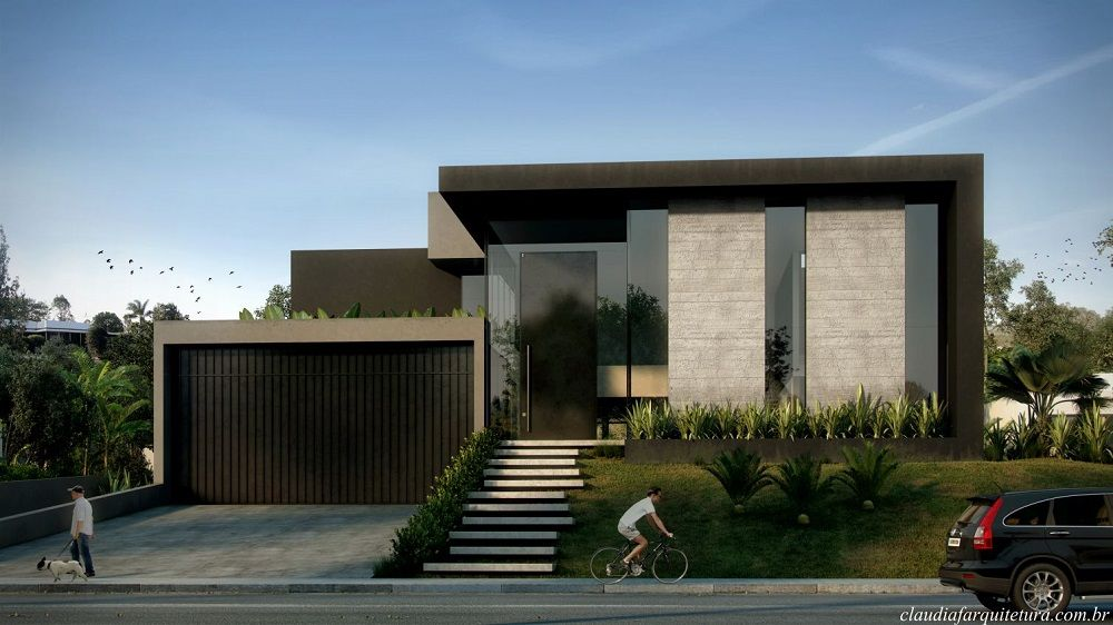 Cl udia f arquiteta arquitetura fachada pinterest for Casa minimalista residencial