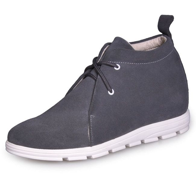 Grey make you taller / with the SKU:MENJGL_802_2 - Gray Lace up Cowhide height…