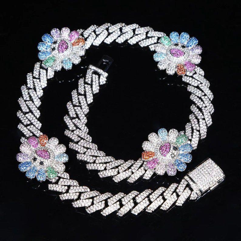 Cuban Link Murakami Flower Necklace Etsy in 2020 Body