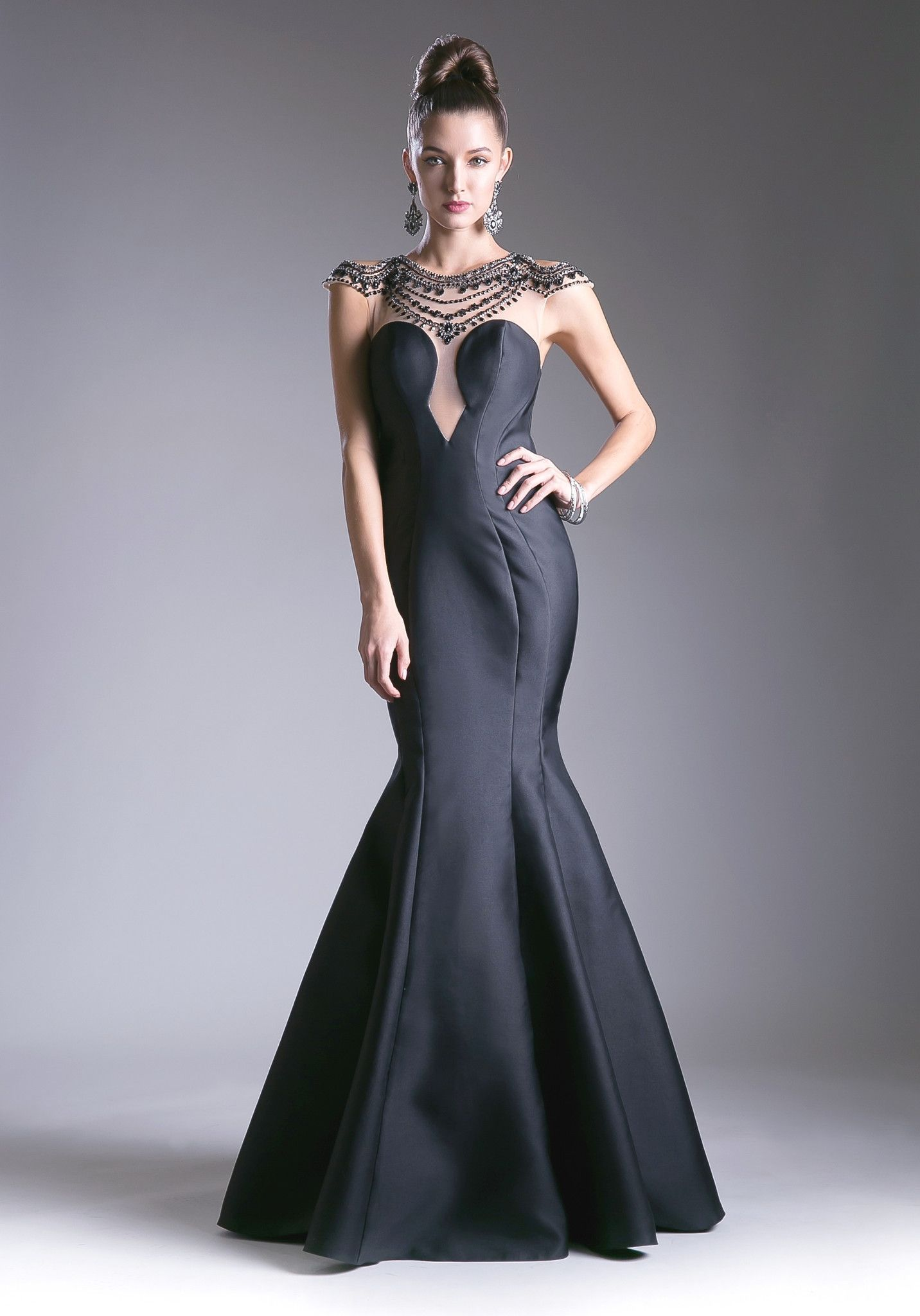 Black beaded illusion mermaid dress by cinderella divine