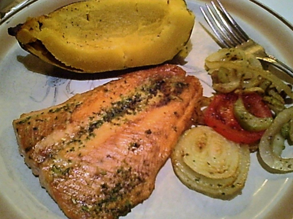 Gluten-Free Broiled Salmon, Baked Acorn Squash, Sauteed Onions for Dinner