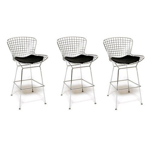 Amazon Com Bertoia Wire Bar Stool Chair 3 White Barstools With Backs Barhockerstuhle Hocker Barhocker Holz