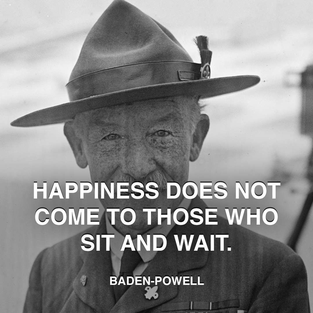 Baden Powell Happiness Sitting Frases Motivacionales