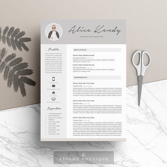 Resume Template 3page Charming by TheResumeBoutique on