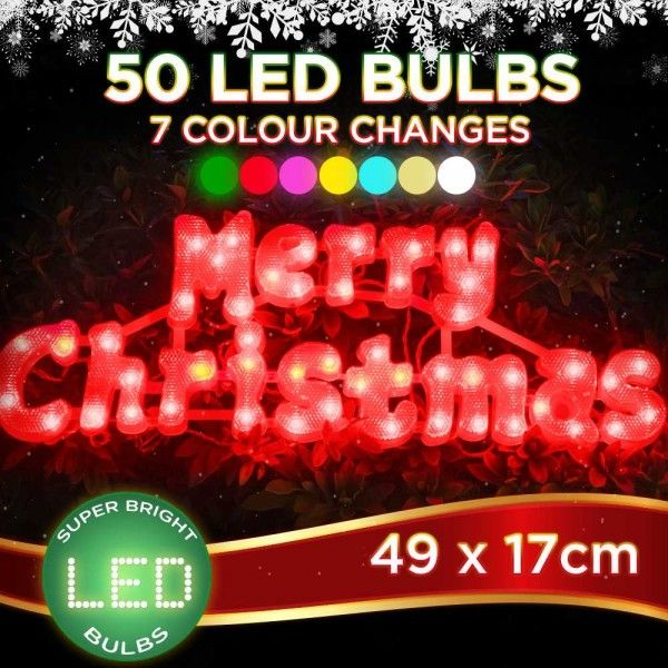 Outdoor LED Merry Christmas Sign Colour Change Holiday Display in