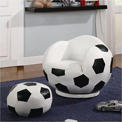 Astonishing 2Pc Small Kids Swivel Chair And Ottoman Set With Soccerball Pdpeps Interior Chair Design Pdpepsorg