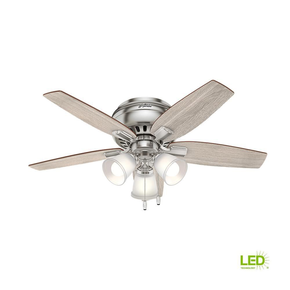 Hunter Echo Bluff 42 In Led Indoor Brushed Nickel Flush Mount Ceiling Fan 51075 The Home Depot Ceiling Fan With Light Flush Mount Ceiling Fan Ceiling Fan