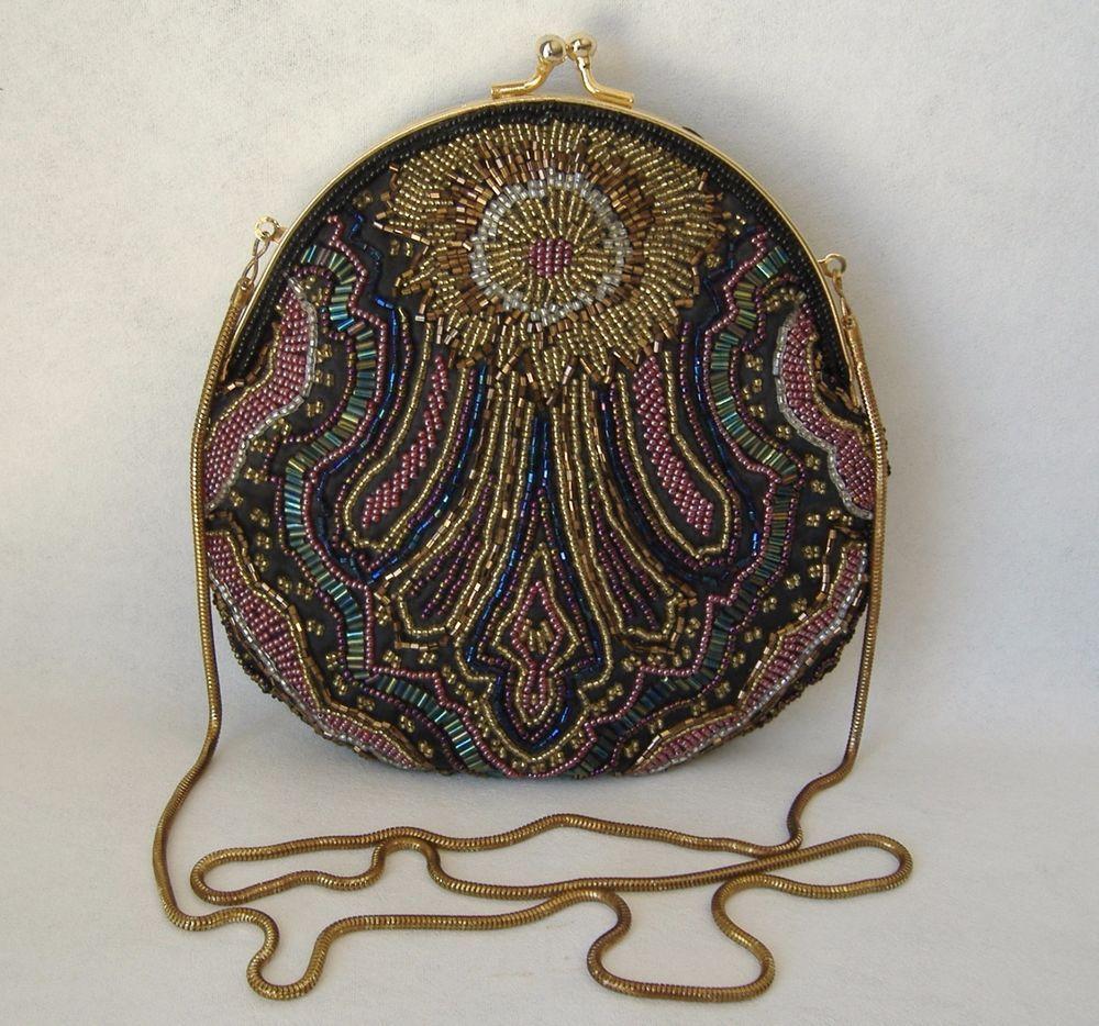Multi Color Handmade Beaded Evening Bag Chain Shoulder