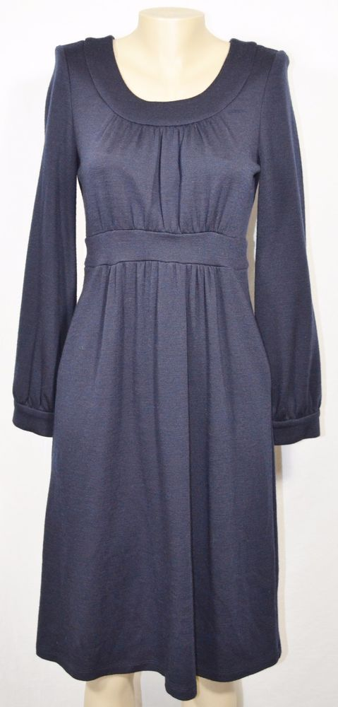 WORTH Navy Blue 100% Wool Dress 8 Long Sleeves Gathered Bust & Waist Unlined…