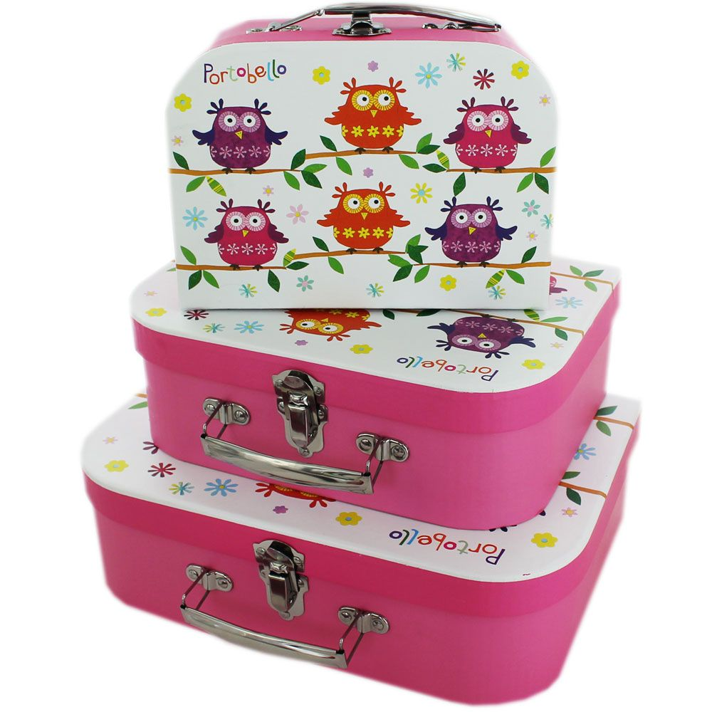 Portobello Owl Storage Suitcases Set Of 3 Bo At The Works