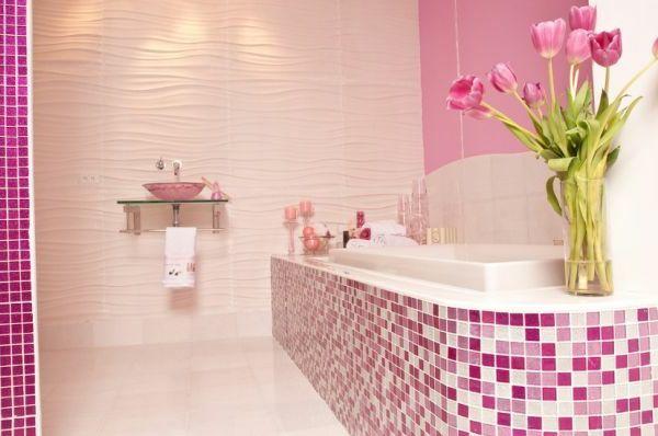Le carrelage mural de salle de bain Pink baths and Bath - mosaique rose salle de bain