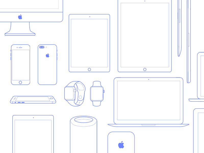 Apple Devices Icons Set Ui Kit Wireframe Free Iphone 6 Web Design