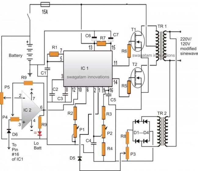 3 High Power SG3525 Pure Sinewave Inverter Circuits