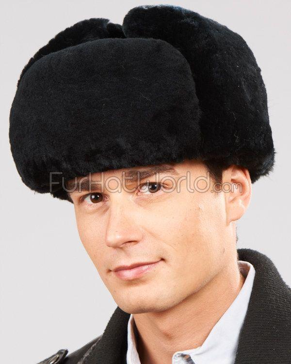 1857a41e69ee5 Black Mouton Sheepskin Russian Ushanka Hat for Men in 2019