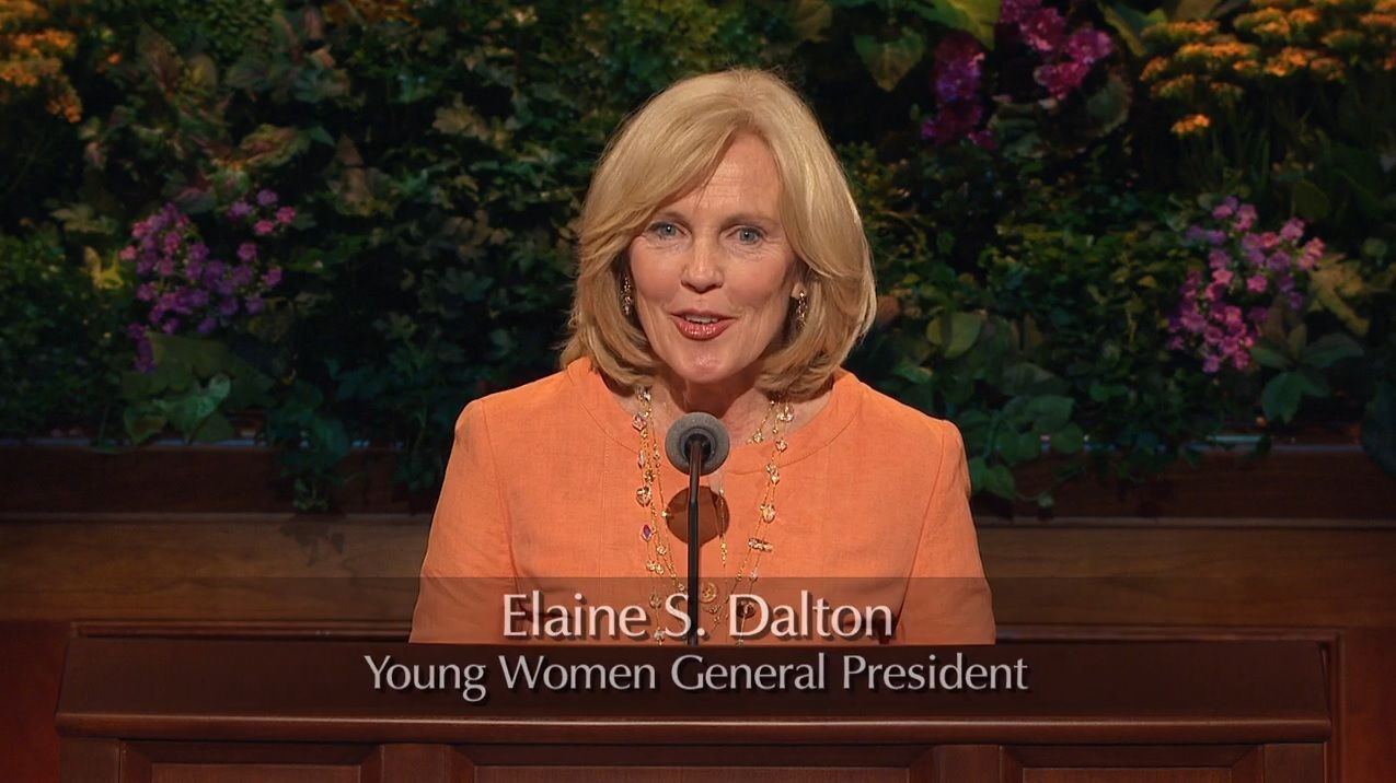 Elaine S. Dalton, Young Women General President, sporting a lovely apricot suit, which enhances her angelic face #LDSCONF