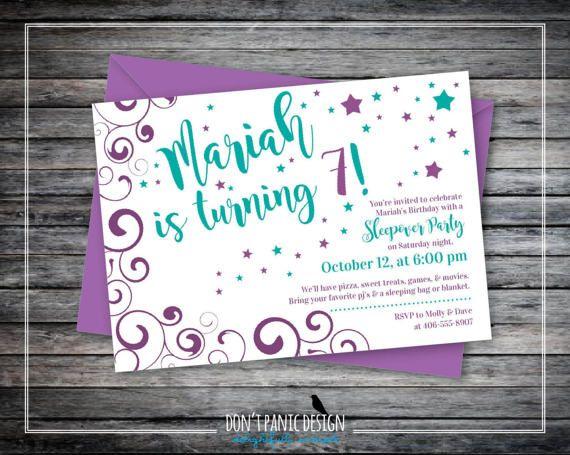 Printable Swirly Star Birthday Invitation