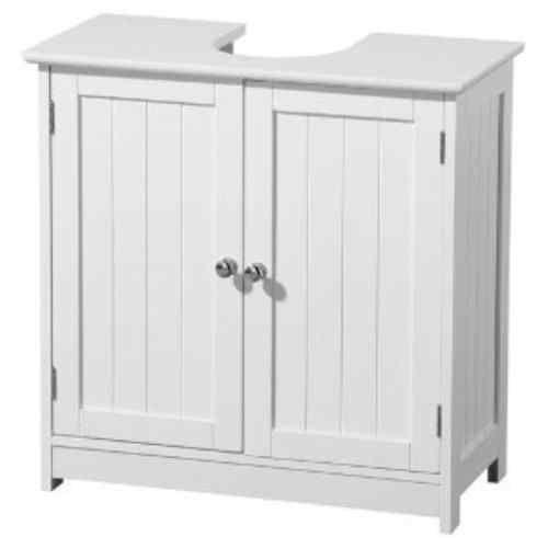 White Wood Under Sink Cabinet Bathroom Storage Unit 270122