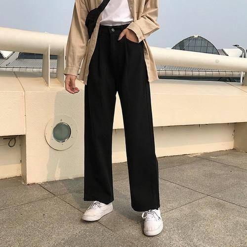 Full-length Wide Leg Jean All-match - black / S